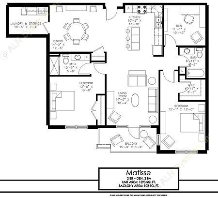 1,593 sq. ft. Sonata floor plan