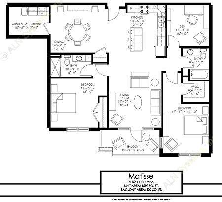 1,593 sq. ft. Matisse floor plan