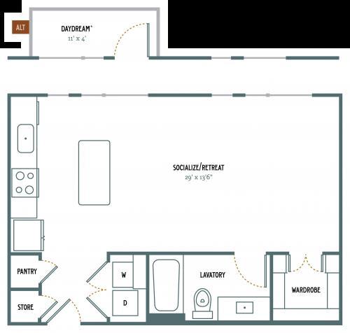 620 sq. ft. E2 floor plan