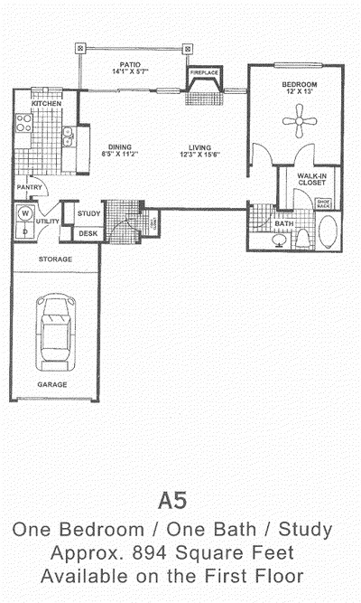 894 sq. ft. A5 1st Flr floor plan