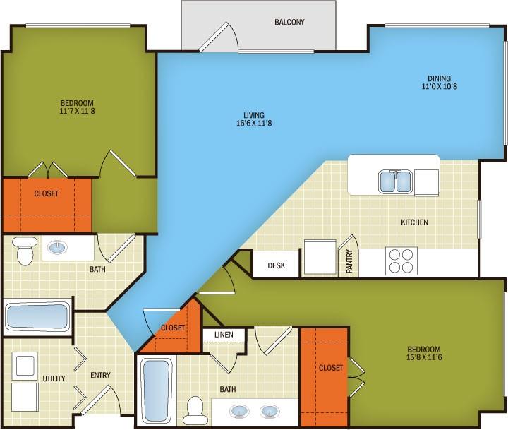 1,220 sq. ft. Shoal Creek - B3 floor plan