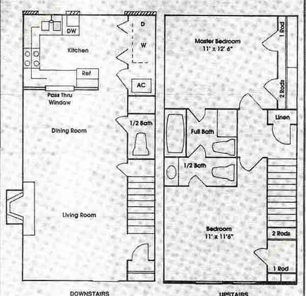 1,000 sq. ft. 2D floor plan