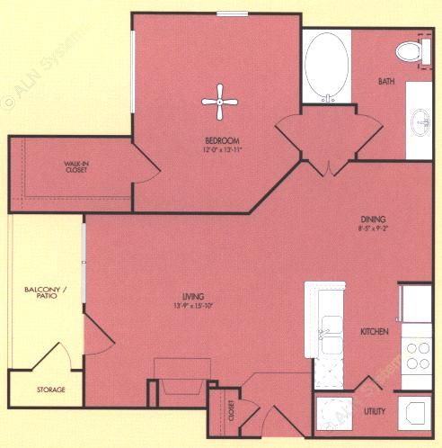 752 sq. ft. Livingston floor plan