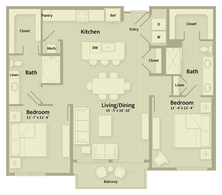 1,197 sq. ft. E1 floor plan