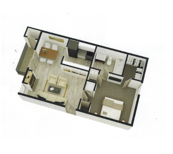 537 sq. ft. A2 floor plan