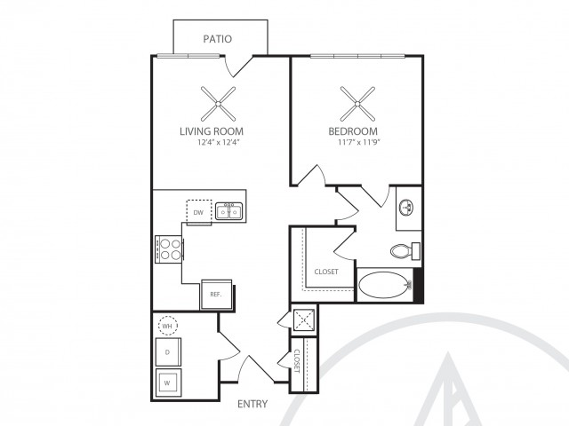 643 sq. ft. A1 floor plan