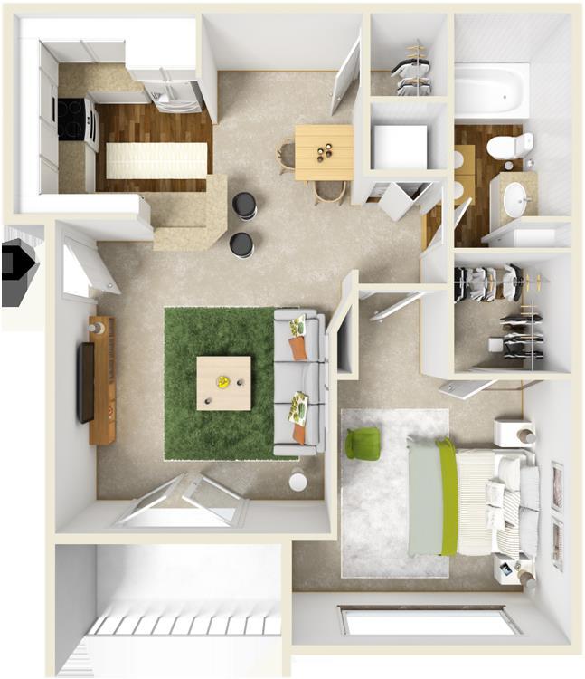 603 sq. ft. A floor plan