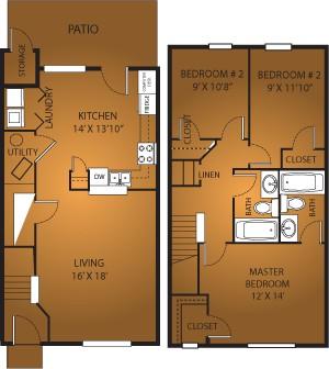 1,332 sq. ft. C1/60% floor plan