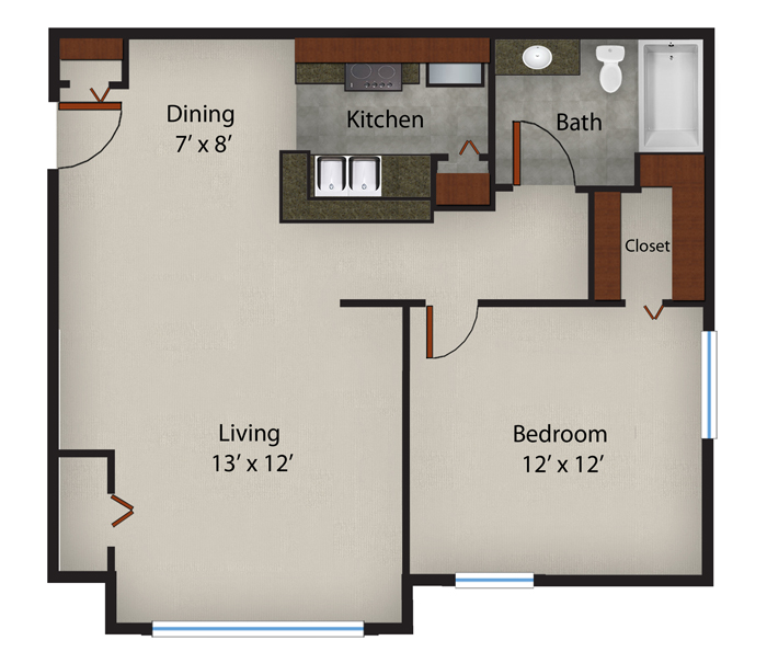 646 sq. ft. to 659 sq. ft. Ginger floor plan