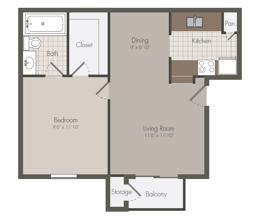 501 sq. ft. A floor plan