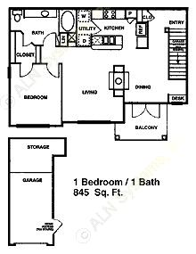 845 sq. ft. A4 floor plan
