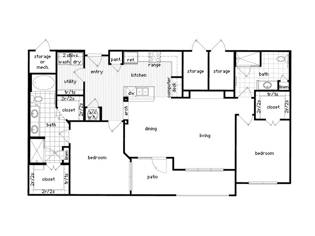 1,374 sq. ft. B3 floor plan
