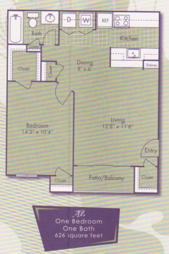 626 sq. ft. Da Vinci floor plan