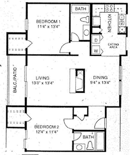 1,050 sq. ft. B3 floor plan