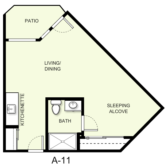 506 sq. ft. A11 floor plan