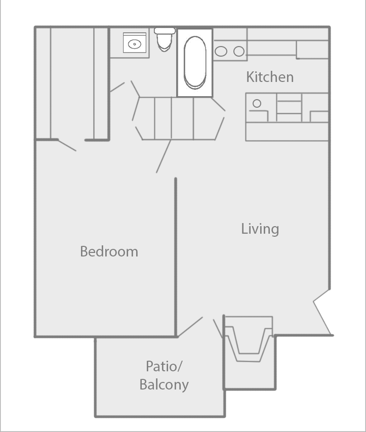 600 sq. ft. C floor plan