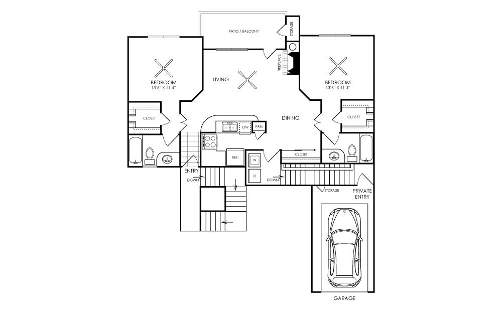 1,061 sq. ft. B1 floor plan