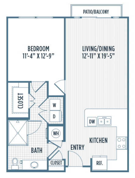 783 sq. ft. A3A floor plan