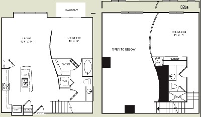 1,096 sq. ft. B2L floor plan