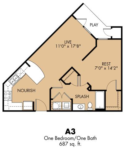 687 sq. ft. A3x floor plan