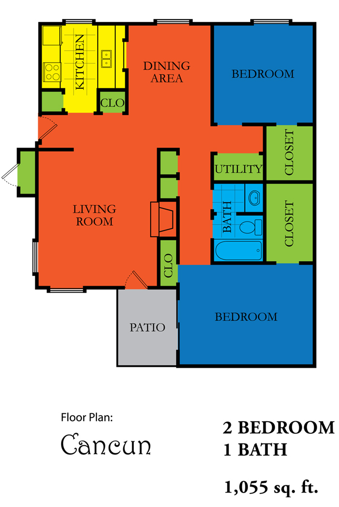 1,055 sq. ft. CANCUN floor plan