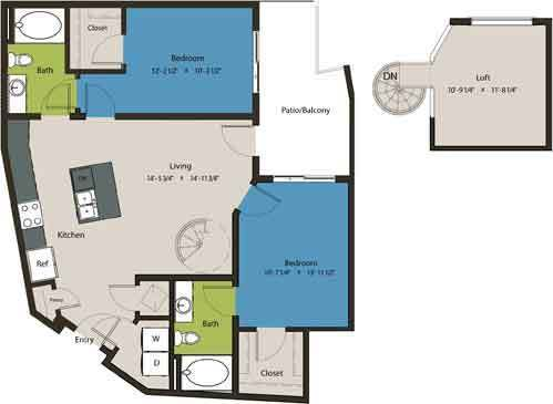 1,153 sq. ft. B6-L1 floor plan