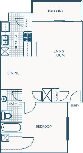 673 sq. ft. C floor plan