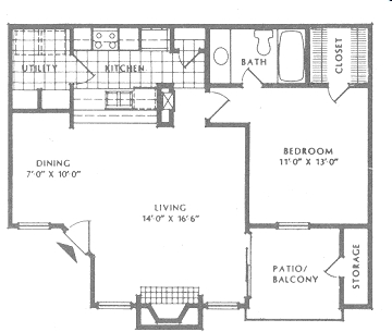 720 sq. ft. A2/Premier floor plan