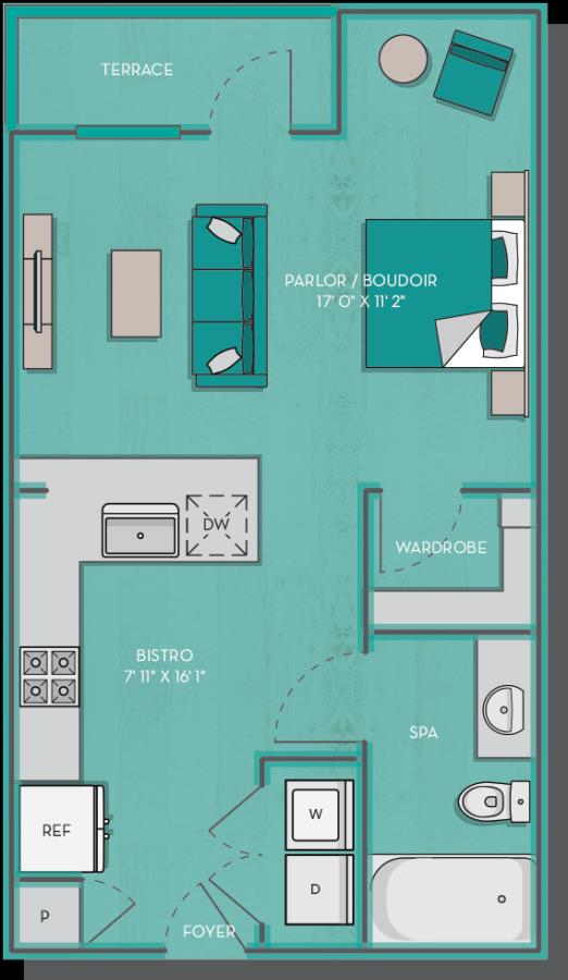 521 sq. ft. to 575 sq. ft. Rio floor plan