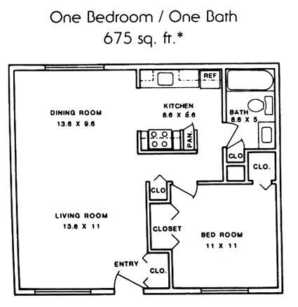 675 sq. ft. ABP floor plan