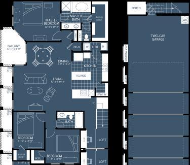 1,578 sq. ft. C2 floor plan