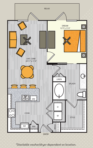 797 sq. ft. A6 floor plan