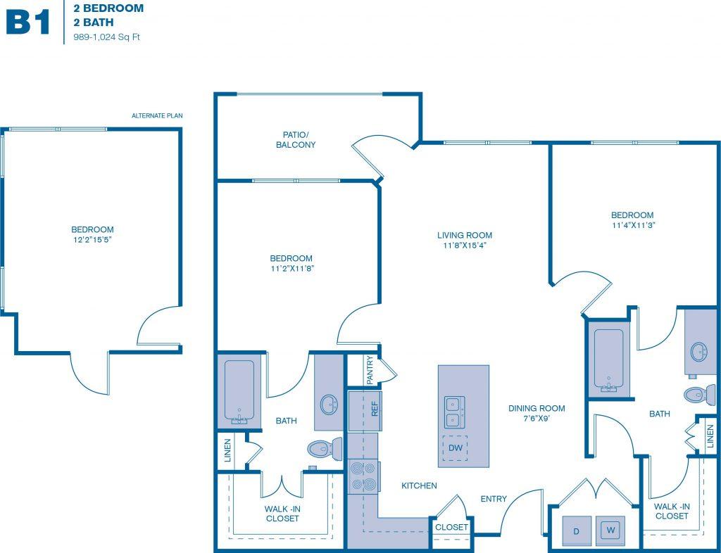 989 sq. ft. B1-HC floor plan
