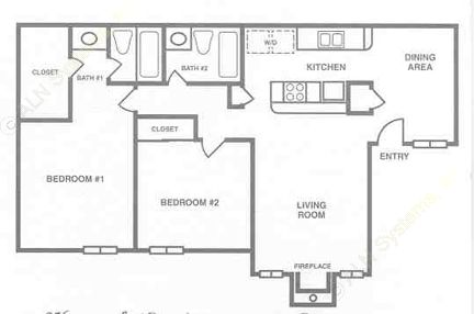 956 sq. ft. B-2 floor plan