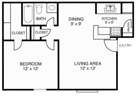 602 sq. ft. 1X1 floor plan