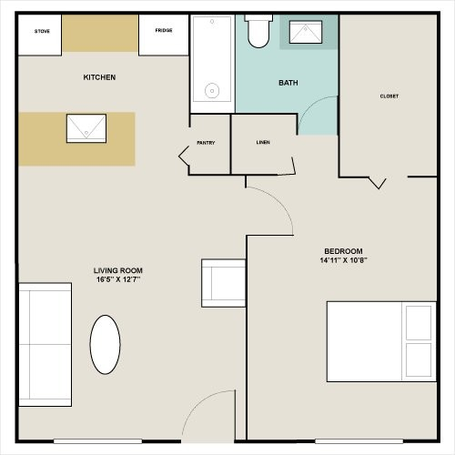 558 sq. ft. to 800 sq. ft. A2 floor plan