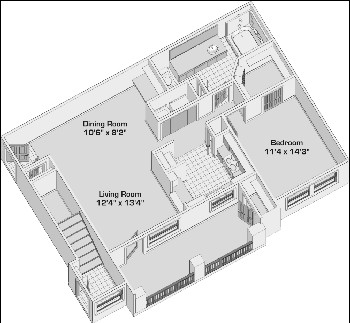 825 sq. ft. A2 PH1 floor plan