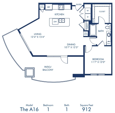 912 sq. ft. A16 floor plan