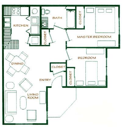 850 sq. ft. 40% floor plan