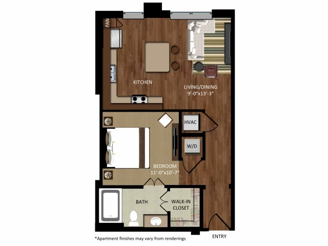 640 sq. ft. A1A floor plan