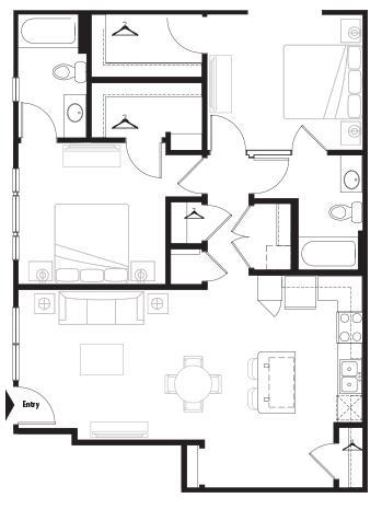 1,062 sq. ft. Courtyard floor plan