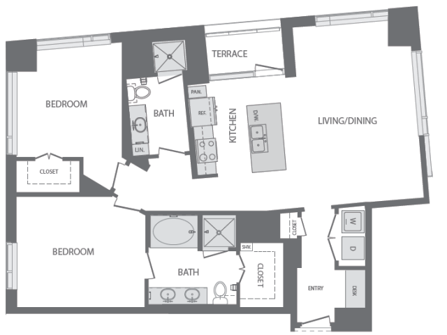 1,306 sq. ft. to 2,358 sq. ft. L floor plan