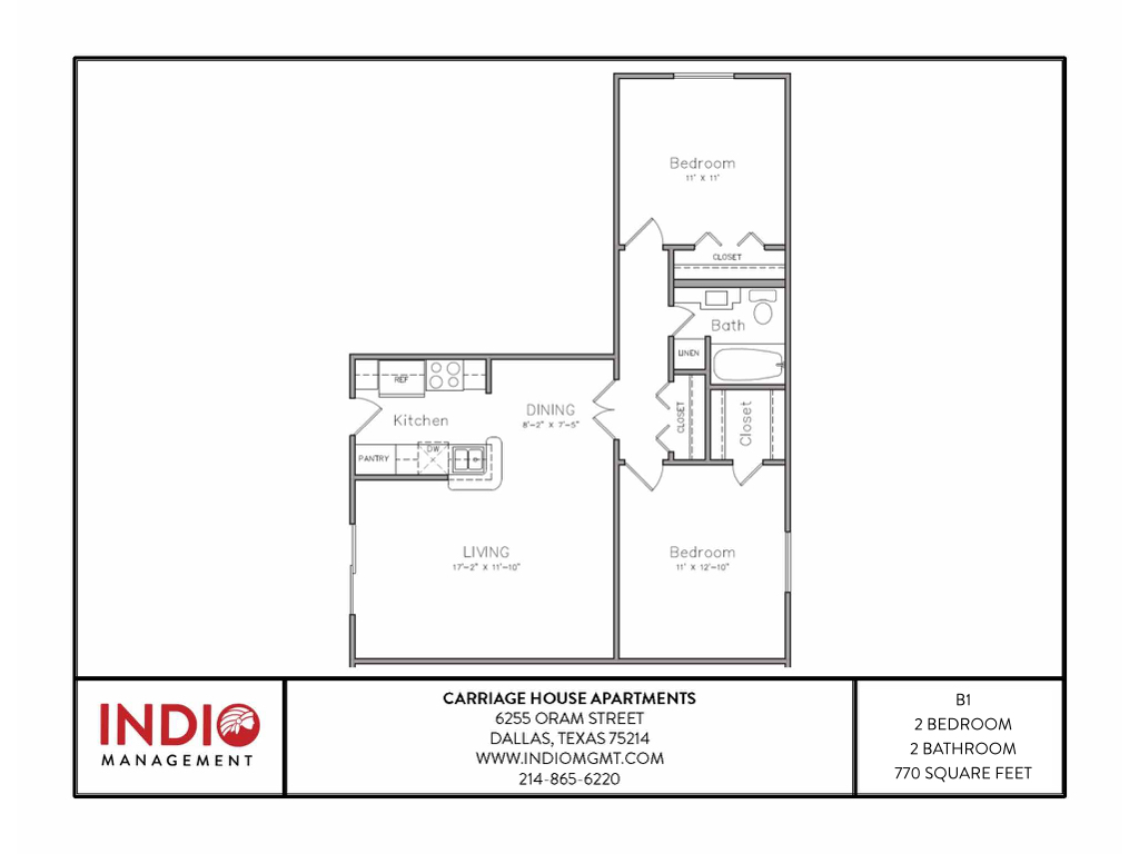 736 sq. ft. B1 floor plan