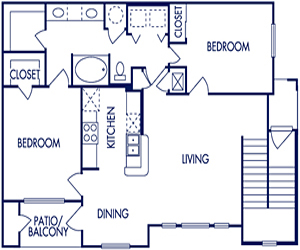 996 sq. ft. C floor plan