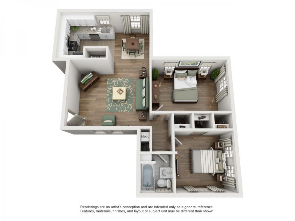 932 sq. ft. E floor plan