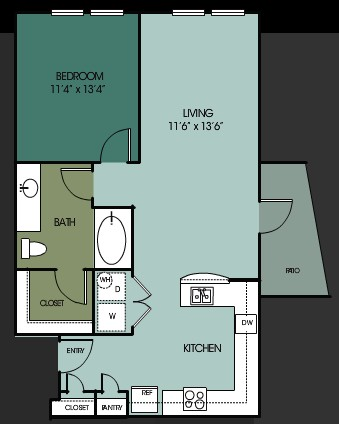 844 sq. ft. A11 floor plan