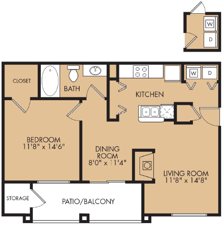 740 sq. ft. A3 floor plan