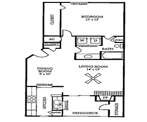787 sq. ft. B floor plan