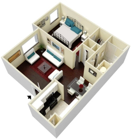 594 sq. ft. Orchid floor plan