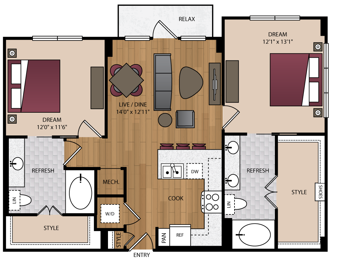 1,075 sq. ft. P-B2.2 floor plan